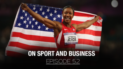 """Special guest Carmelita Jeter on Dropping Bombs Episode 52, """"On Sport & Business"""" with @TheRealBradLea."""